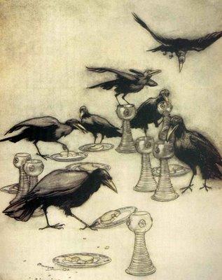 Illustration von Arthur Rackham zu dem Märchen Die sieben Raben