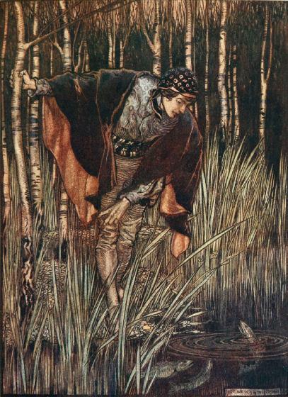Illustration von Arthur Rackham zu dem Märchen Die weiße Schlange