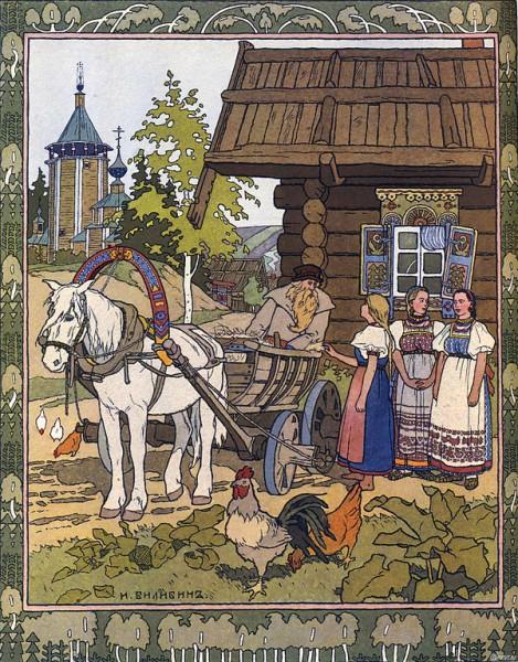 Illustration von Iwan Bilibin zu dem russischen Märchen Finist, der Falke