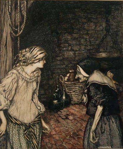Illustration von Arthur Rackham zum Märchen Der Räuberbräutigam von den Brüdern Grimm