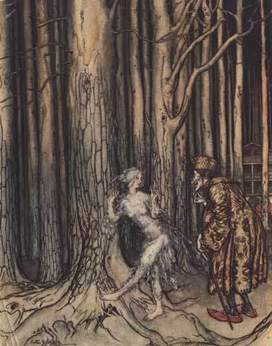Illustration von Arthur Rackham zu dem Märchen Fitchers Vogel von den Brüdern Grimm