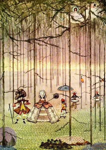 Riquet mit dem Schopf geht mit seiner Angebeteten spazieren. Illustration von Harry Clarke.