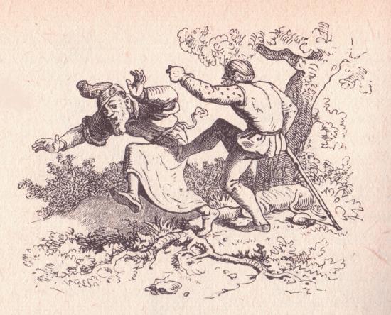 Rübezahl nimmt die Gestalt eines Schneiders an und verprügelt einen Juden. Illustration von Ludwig Richter