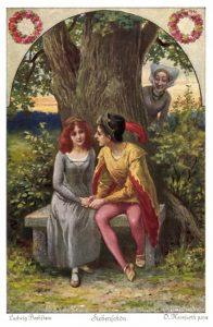 Siebenschön, Märchen von Ludwig Bechstein. Märchenpostkarte von Otto Herrfurth