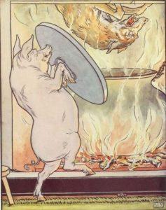 Die drei kleinen Schweinchen, Märchenbilder von L.L. Brooke. Wolf