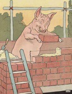 Die drei kleinen Schweinchen, Märchenbilder von L.L. Brooke. Haus aus Stein