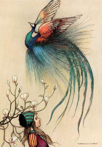 Illustration von Warwick Goble zu dem Märchen Von dem Machandelboom