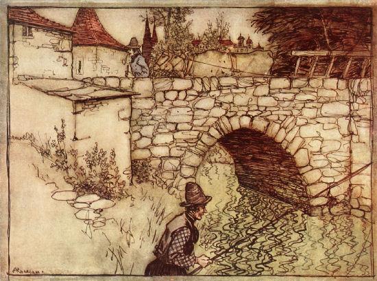 Illustration von Arthur Rackham zu dem Märchen Doktor Allwissend von den Brüdern Grimm