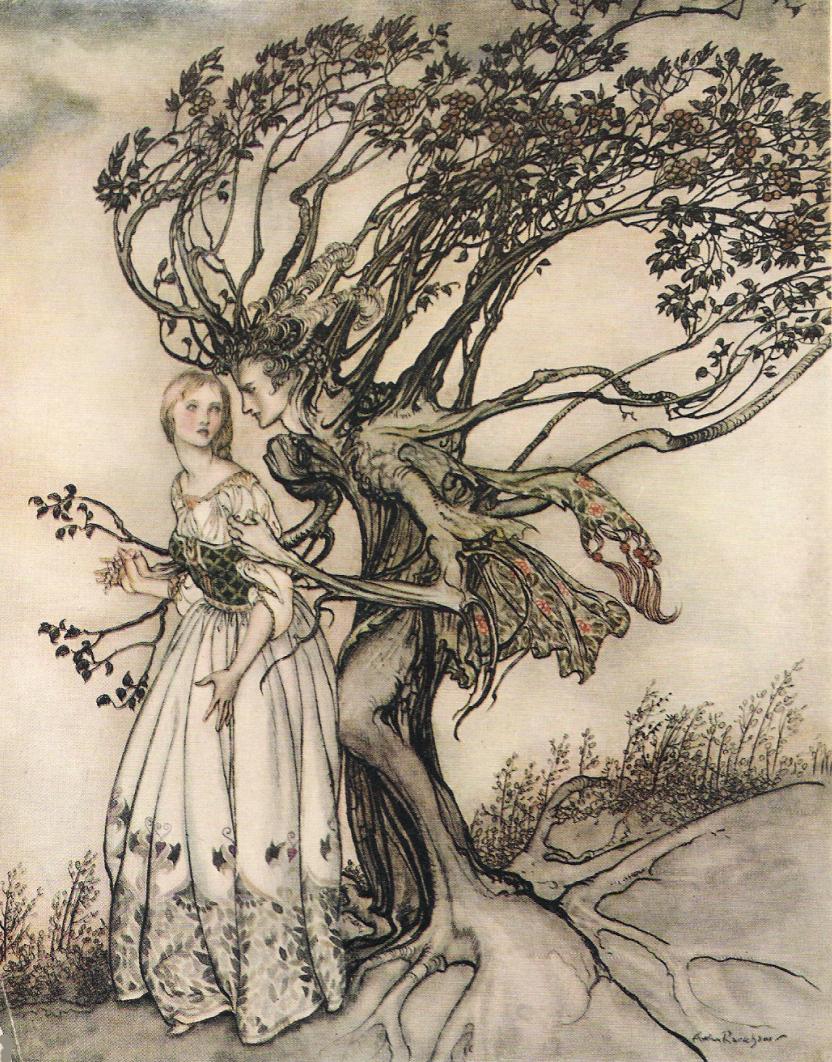 Illustration von Arthur Rackham zu dem Märchen Die Alte im Wald von den Brüdern Grimm