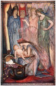 Die Feen segnen Holger Danske. Illustration von Henry Justice Ford
