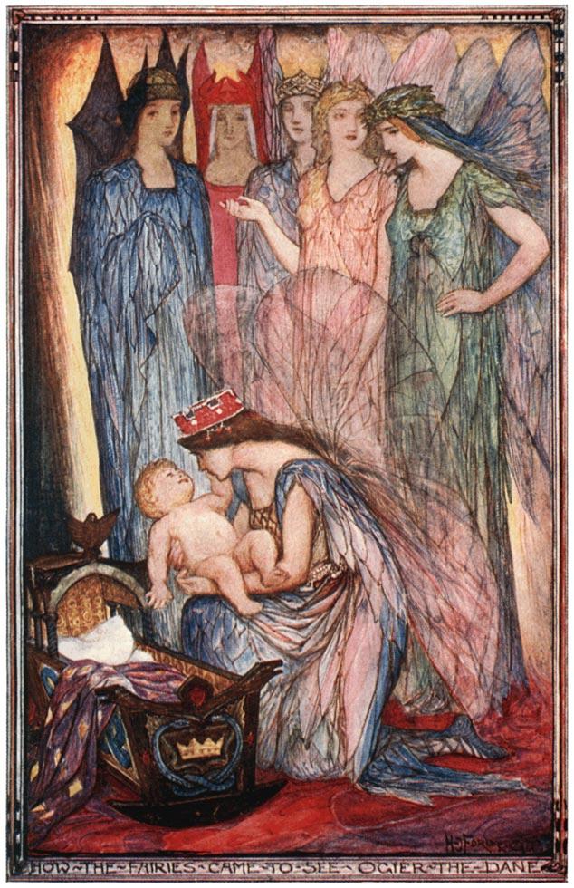 Feen im Märchen Holger Danske. Illustration von Henry Justice Ford