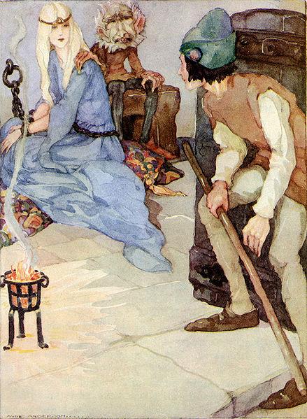 Illustration von Anne Anderson zu dem Märchen Der starke Hans von den Brüdern Grimm