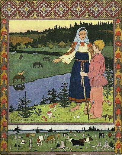 Illustration von Iwan Bilibin zu dem Märchen Aljonuschka und Iwanuschka