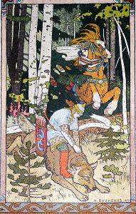 Iwan Zarewitsch, der Feuervogel und der graue Wolf. Märchenbilder Iwan Bilibin