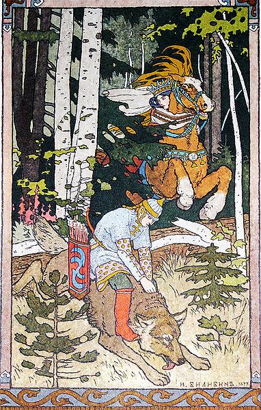 Iwan Zarewitsch reitet auf dem grauen Wolf, um den Feuervogel zu finden. Illustration von Iwan Bilibin