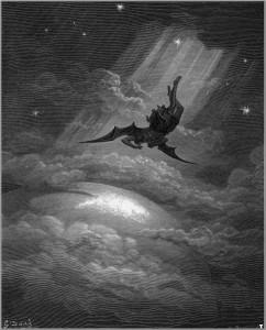 Himmelssturz, Illustration von Gustave Doré zu John Miltons Paradise Lost