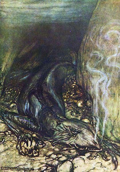 Drache Fafnir. Illustration von Arthur Rackham