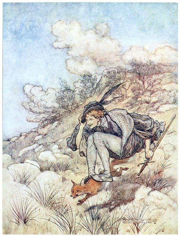 Illustration von Arthur Rackham zu dem Märchen Der goldene Vogel von den Brüdewrn Grimm