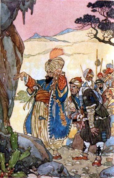 Illustration von René Bull zu dem Märchen Ali Baba und die vierzig Räuber