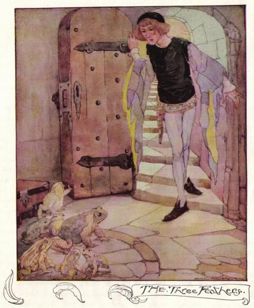 Illustration von Anne Anderson zu dem Märchen Die drei Federn von den Brüdern Grimm