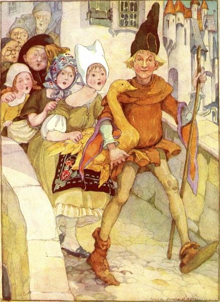 Illustration von Anne Anderson zu dem Märchen Die goldene Gans