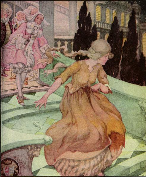Aschenputtel verliert ihren Schuh, Illustration Anne Anderson