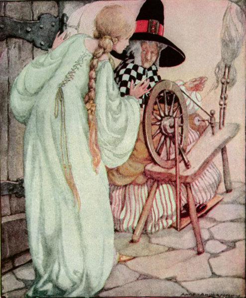 Illustration von Anne Anderson zu dem Märchen Dornröschen. Die Königstochter trifft die Alte am Spinnrad.