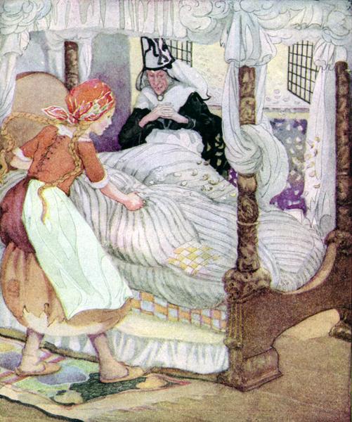 Illustration Anne Anderson zu dem Märchen Frau Holle von den Brüdern Grimm