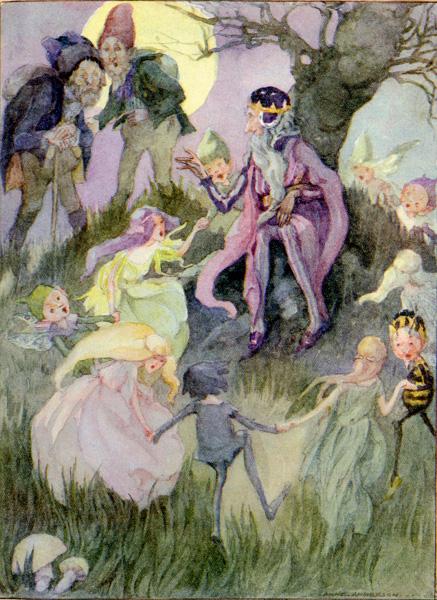 Illustration von Anne Anderson zu dem Märchen Die Geschenke des kleinen Volkes von den Brüdern Grimm