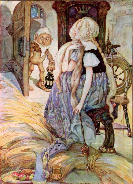 Illustration von Anne Anderson zu dem Märchen Rumpelstilzchen
