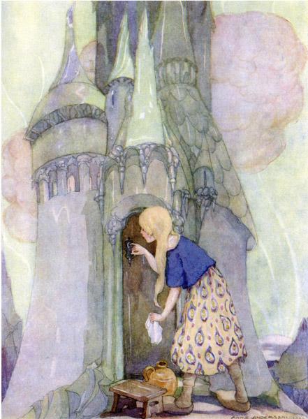 Illustration von Anne Anderson zu dem Märchen Die sieben Raben
