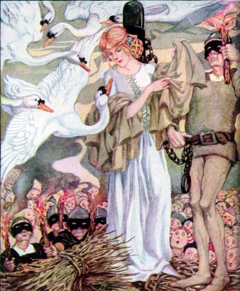 Illustration von Anne Anderson zu dem Märchen Die wilden Schwäne von Hans Christian Andersen