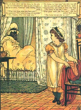 Rotkäppchen am Bett der Grossmutter, Illustration von Walter Crane