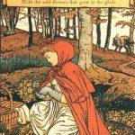 Rotkäppchen pflückt Blumen, Illustration Walter Crane