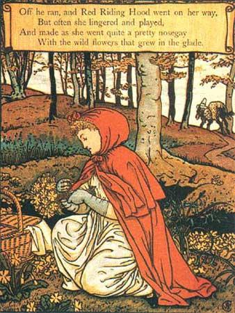 Rotkäppchen pflückt Blumen im Wald, Illustration von Walter Crane