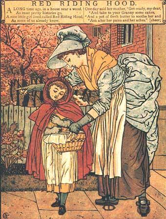 Rotkäppchen wird von der Mutter zur Großmutter geschickt. Illustration von Walter Crane