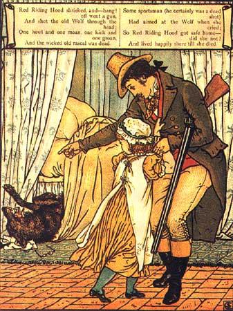 Der Jäger rettet Rotkäppchen und die Großmutter vor dem bösen Wolf. Illustration von Walter Crane