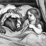 Rotkäppchen und Wolf im Bett, Illustration Gustave Dore