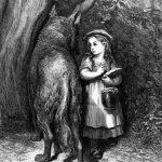 Rotkäppchen und Wolf im Wald, Illustration Gustave Dore