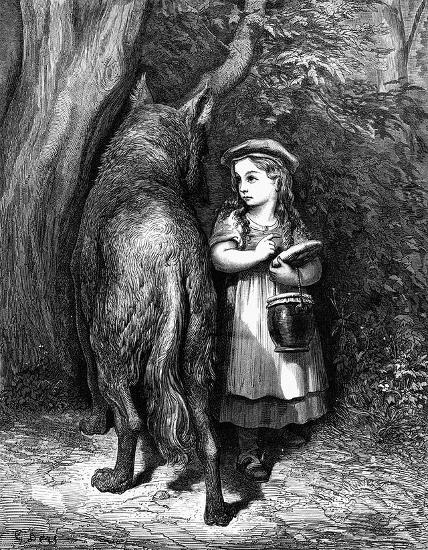 Rotkäppchen und Wolf im Wald, Illustration von Gustave Dore