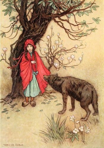 Rotkäppchen trifft auf ihrem Weg zur Großmutter den Wolf. Illustration von Warwick Goble