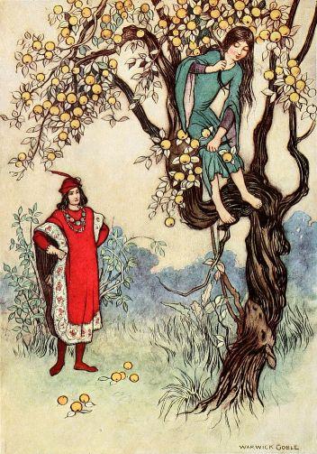 Das Mädchen versteckt sich vor dem Prinzen auf einem Baum. Illustration von Warwick Goble zu dem Märchen Einäuglein, Zweiäuglein