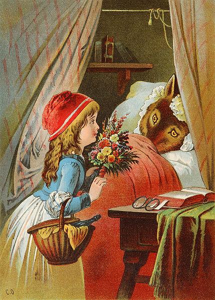 Rotkäppchen am Bett der Großmutter, Illustration von Carl Offterdinger