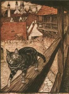 Katze und Maus in Gesellschaft. Märchen der Brüder Grimm, Illustration Arthur Rackham