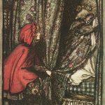 Rotkäppchen am Bett der Großmutter, Illustration Arthur Rackham