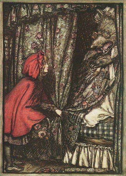 Rotkäppchen am Bett der Großmutter, Illustration von Arthur Rackham