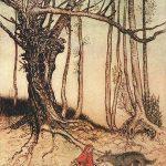 Rotkäppchen im Wald, Illustration Arthur Rackham