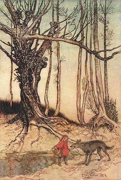 Rotkäppchen trifft im Wald den Wolf. Illustration von Arthur Rackham
