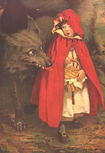 Rotkäppchen trifft den Wolf. Illustration von Jessie Wilcox Smith