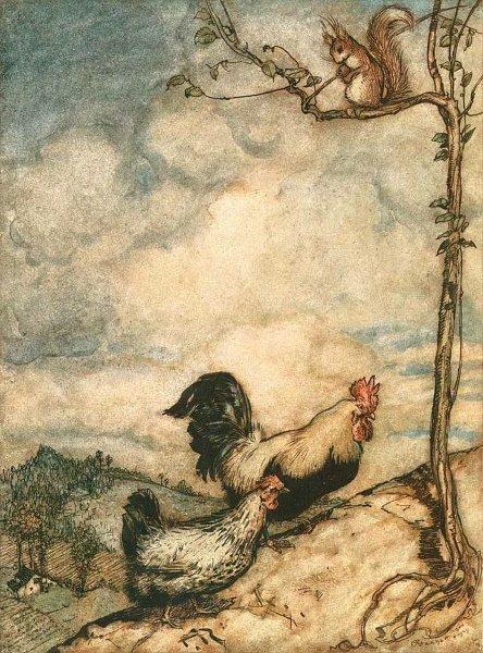 Huhn und Hahn gehen zusammen Nüsse fressen. Illustration von Arthur Rackham zu dem Märchen Das Lumpengesindel von den Brüdern Grimm